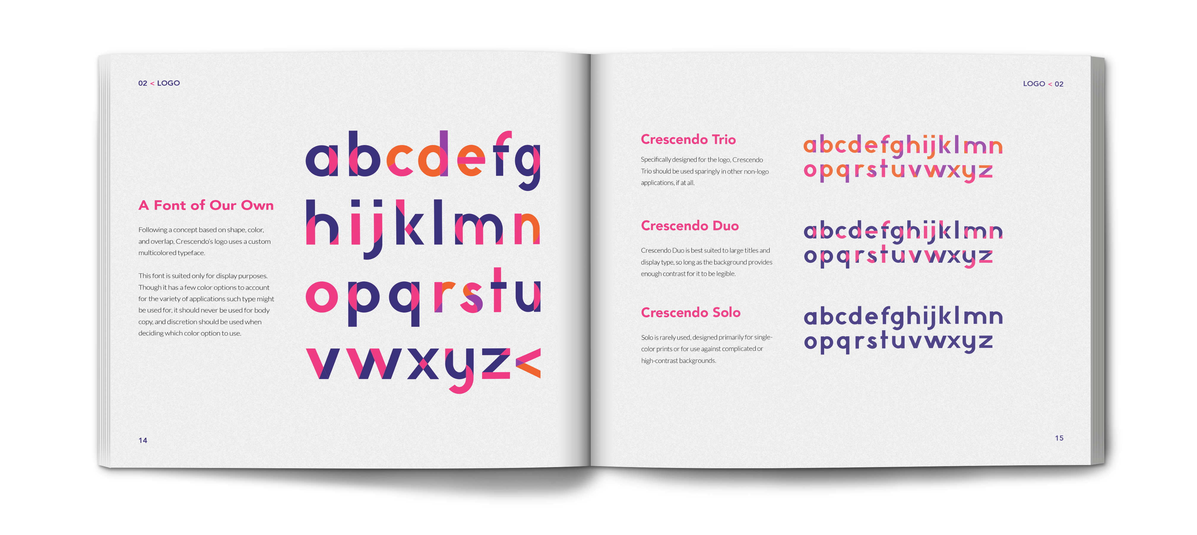 crescendo brand identity book showing the crescendo fonts