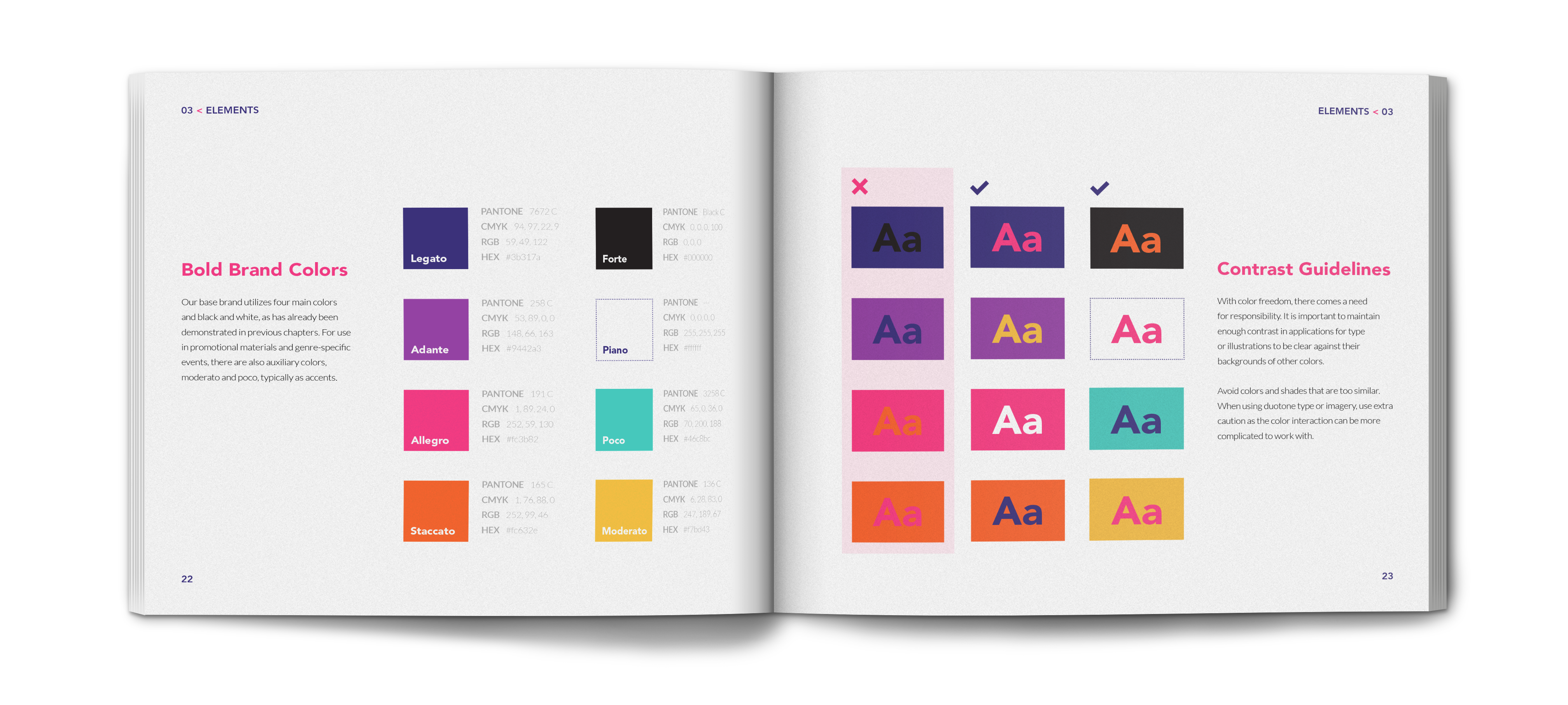 crescendo brand identity book showing color guidlines