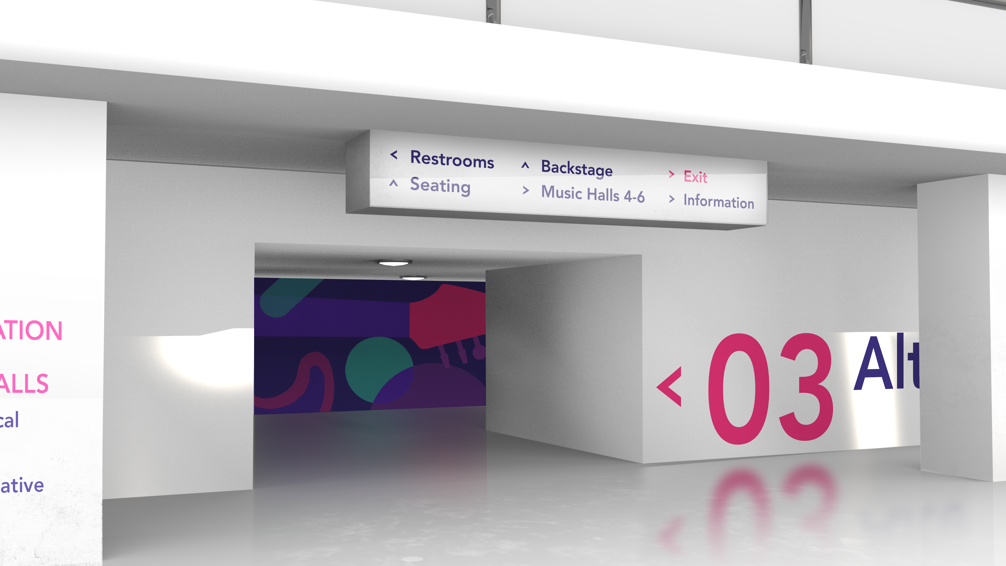 image of crescendo wayfinding showing genre-themed patterns in a hallway leading to a concert hall