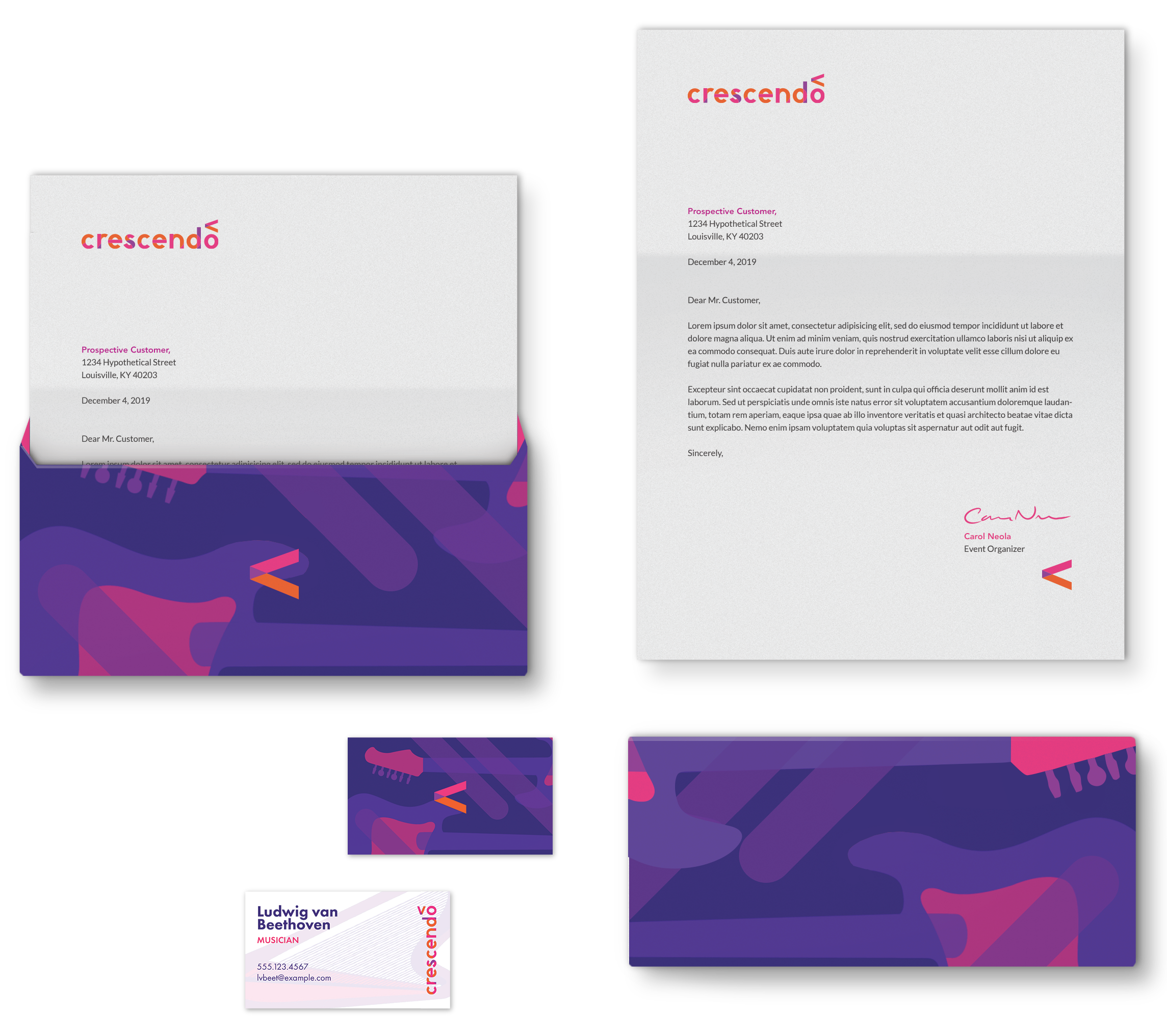 crescendo stationery designs