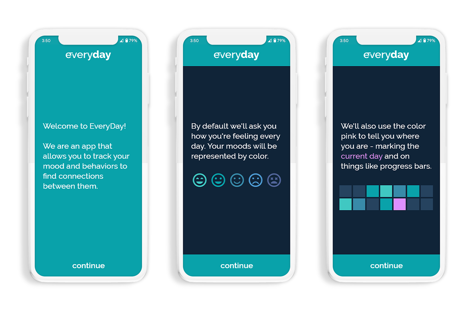 mobile mockups of Everyday's intro user flow