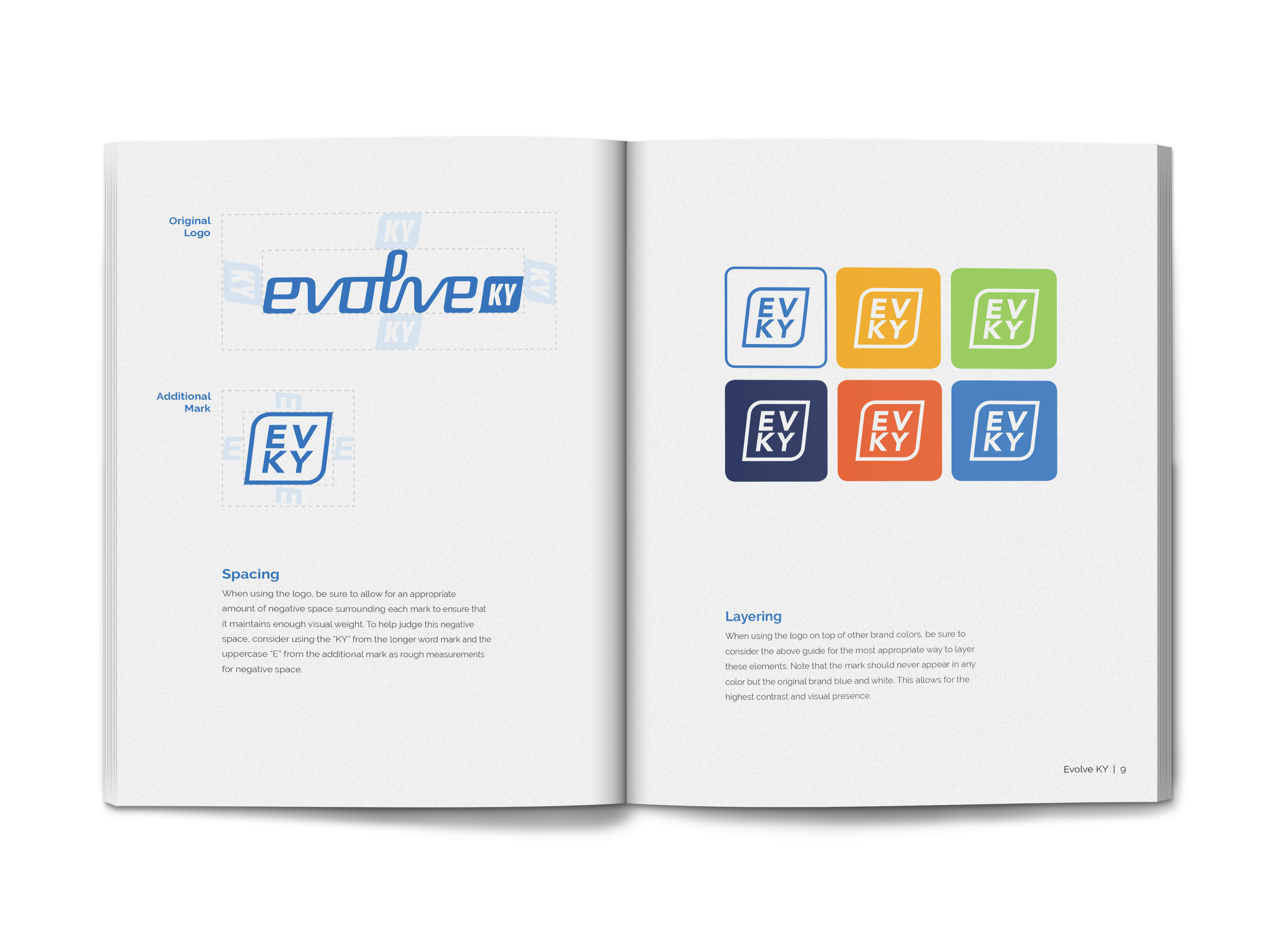 mockup of Evolve KY's brand standards guide showing the new secondary logo mark