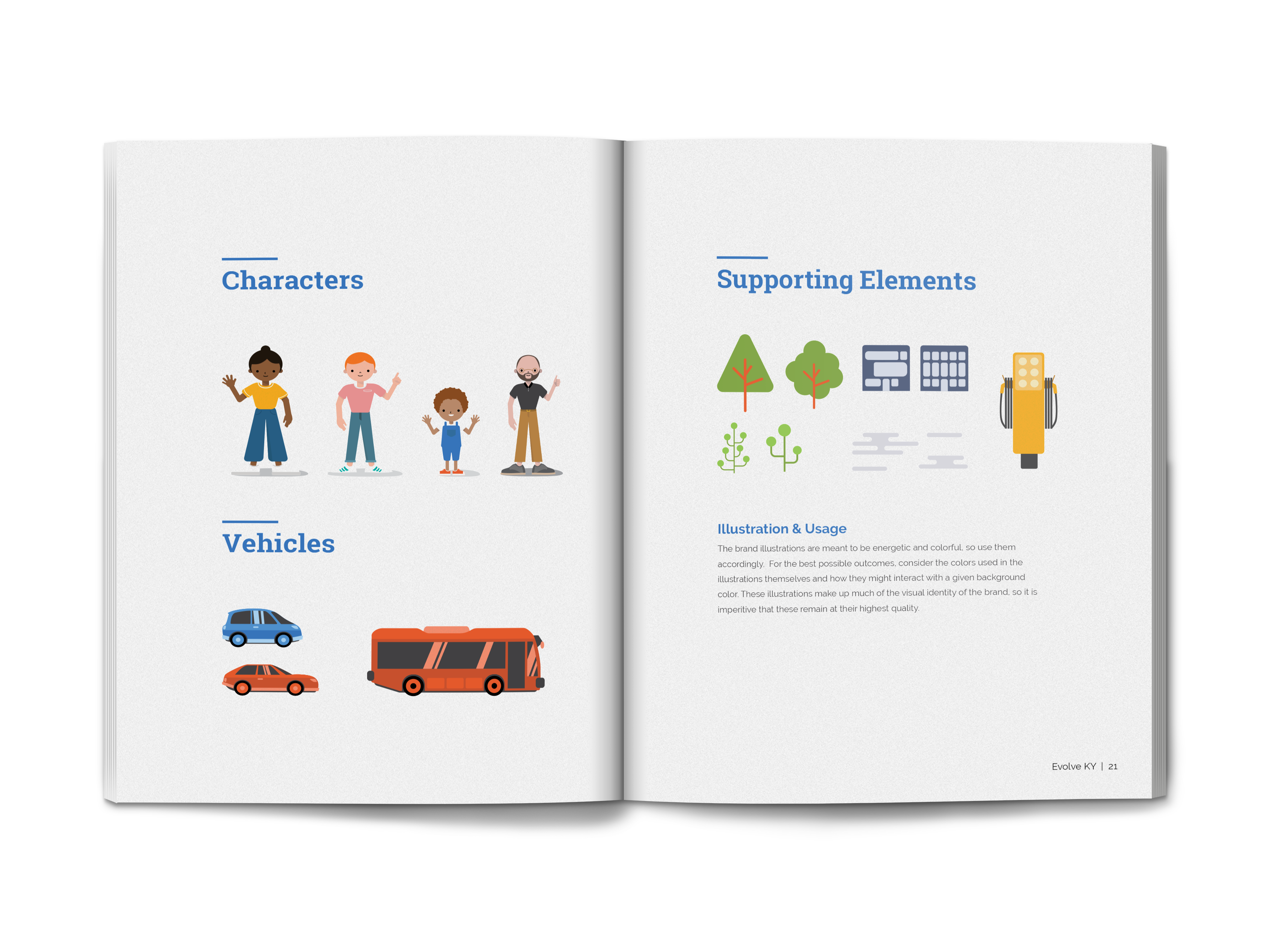 mockup of Evolve KY's brand standards guide outlining the illustrations and characters created for them