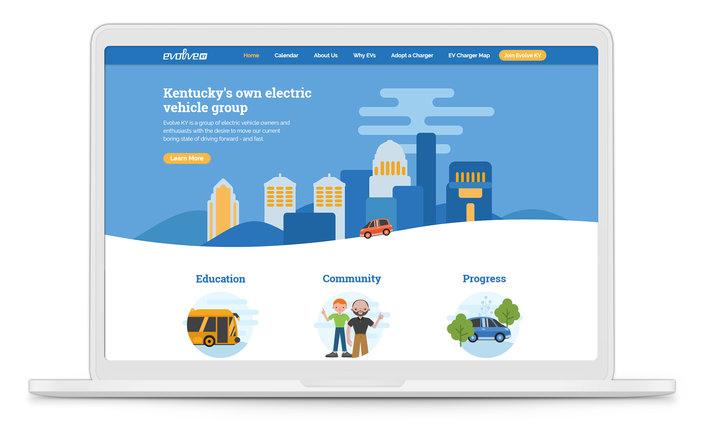 laptop mockup of Evolve KY's homepage